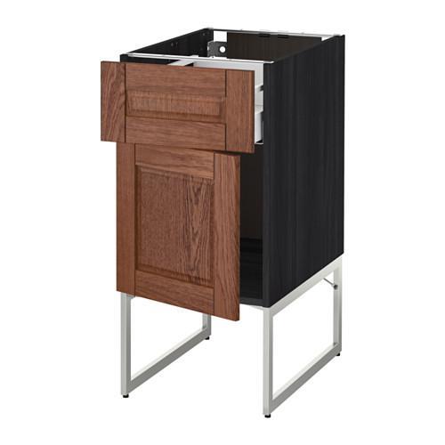 МЕТОД / МАКСИМЕРА Напольный шкаф с ящиком/дверью - 40x60x60 см, Филипстад коричневый, под дерево черный