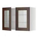 МЕТОД Навесной шкаф с полками/2 стекл дв - 80x60 см, Эдсерум под дерево коричневый, белый