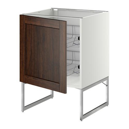 МЕТОД Напольный шкаф с проволочн ящиками - 60x60x60 см, Эдсерум под дерево коричневый, белый