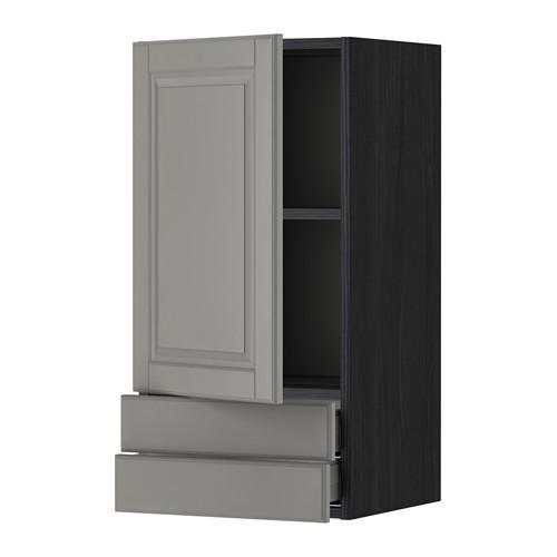 МЕТОД / МАКСИМЕРА Навесной шкаф с дверцей/2 ящика - 40x80 см, Будбин серый, под дерево черный