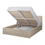 МАЛЬМ Кровать с подъемным механизмом - дубовый шпон, беленый, 180x200 см