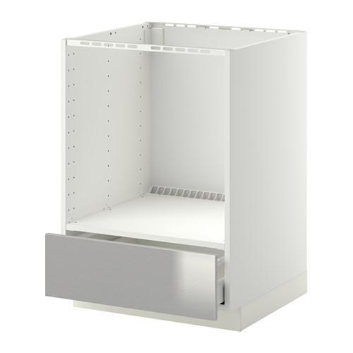 МЕТОД / МАКСИМЕРА Напольный шкаф д/духовки, с ящиком - Гревста нержавеющ сталь, белый
