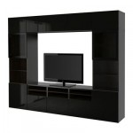 БЕСТО Шкаф для ТВ, комбин/стеклян дверцы - черно-коричневый/Сельсвикен глянцевый/черный прозрачное стекло, направляющие ящика, плавно закр