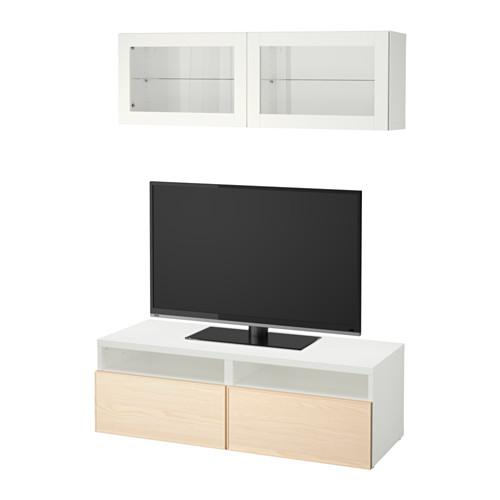 Kabinet TV BESTA, menggabungkan / pintu kaca - venir abu putih / Inviken, pemandu laci, tolak