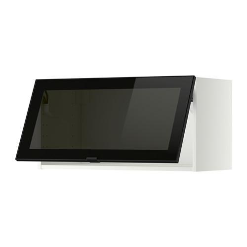 МЕТОД Гориз навесн шкаф со стекл дверью - 80x40 см, белый, Ютис дымчатое стекло/черный