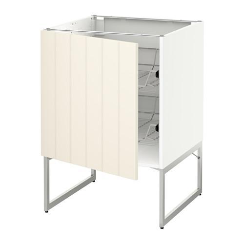 МЕТОД Напольный шкаф с проволочн ящиками - 60x60x60 см, Хитарп белый с оттенком, белый