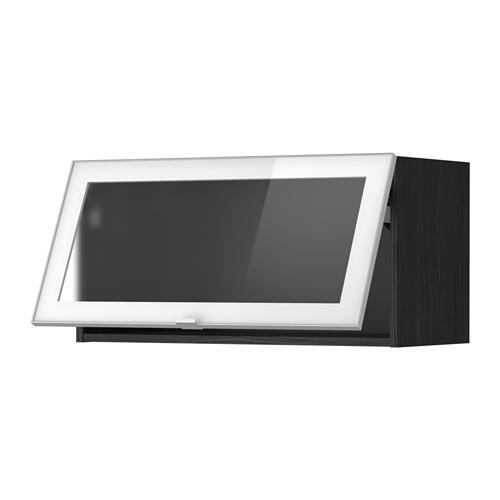 МЕТОД Гориз навесн шкаф со стекл дверью - 80x40 см, под дерево черный, Ютис матовое стекло/алюминий
