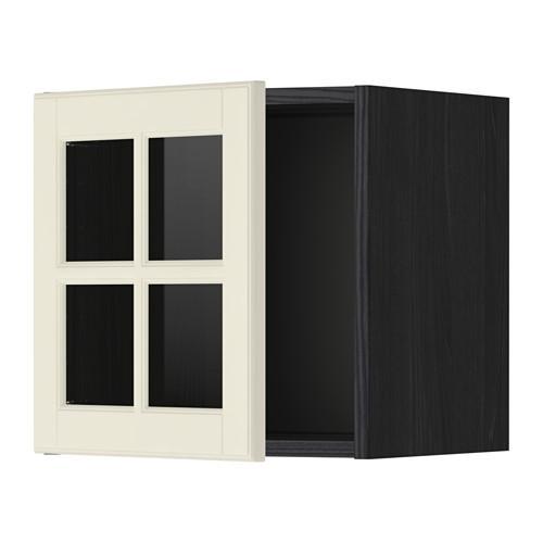 МЕТОД Навесной шкаф со стеклянной дверью - под дерево черный, Будбин белый с оттенком