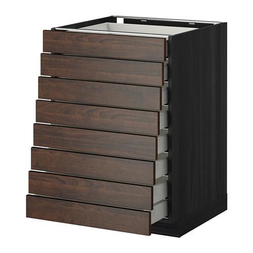 МЕТОД / МАКСИМЕРА Наполн шкаф 8 фронт/8 низк ящиков - 60x60 см, Эдсерум под дерево коричневый, под дерево черный