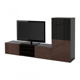 BESTÅ cabinet TV COMBINED / glass door - black-brown / high-gloss Selsviken / brown smoked glass, drawer guides, push