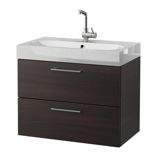 ГОДМОРГОН / БРОВИКЕН Шкаф для раковины с 2 ящ - черно-коричневый/светло-серый
