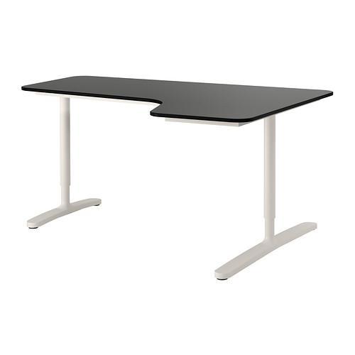 БЕКАНТ Углов письм стол правый - черно-коричневый/белый