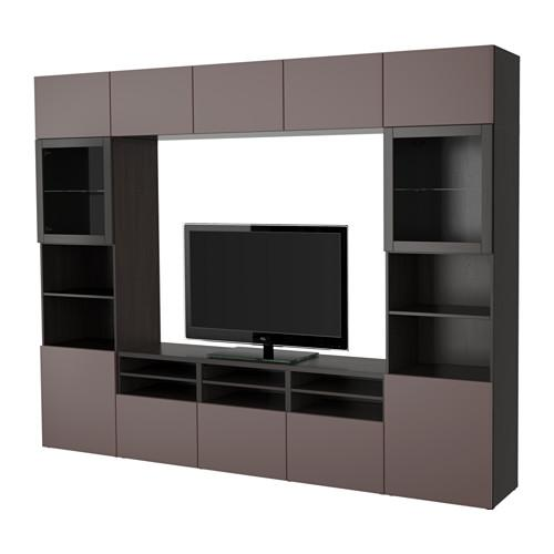best tv schrank kombinierte glast ren schwarzbraun valviken dunkelbraun transparentes. Black Bedroom Furniture Sets. Home Design Ideas