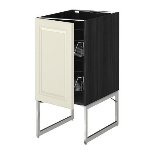 МЕТОД Напольный шкаф с проволочн ящиками - 40x60x60 см, Будбин белый с оттенком, под дерево черный
