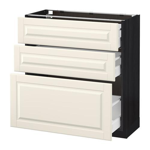 МЕТОД / МАКСИМЕРА Напольный шкаф с 3 ящиками - 80x37 см, Будбин белый с оттенком, под дерево черный