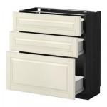 МЕТОД / ФОРВАРА Напольный шкаф с 3 ящиками - 80x37 см, Будбин белый с оттенком, под дерево черный