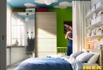 Interior kamar tidur dikombinasikan dengan kamar tidur anak