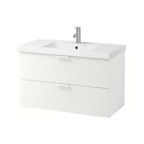 GODMORGON / Cabinet Odensvik avec évier 2 caisse - Blanc
