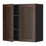 МЕТОД Навесной шкаф с полками/2дверцы - 80x80 см, Эдсерум под дерево коричневый, под дерево черный