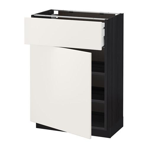 МЕТОД / МАКСИМЕРА Напольный шкаф с ящиком/дверью - 60x37 см, Веддинге белый, под дерево черный