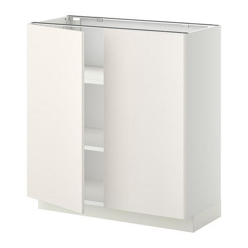 МЕТОД Напол шкаф с полками/2двери - 80x37 см, Веддинге белый, белый