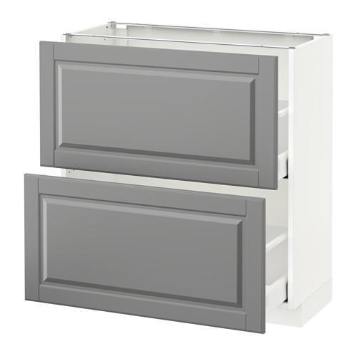 МЕТОД / МАКСИМЕРА Напольный шкаф с 2 ящиками - 80x37 см, Будбин серый, белый