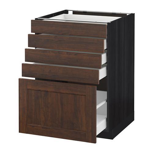 МЕТОД / МАКСИМЕРА Напольный шкаф с 5 ящиками - 60x60 см, Эдсерум под дерево коричневый, под дерево черный