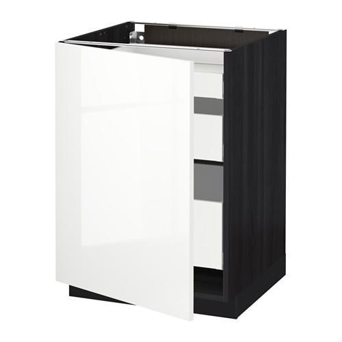 МЕТОД / МАКСИМЕРА Напольный шкаф с 1двр/3ящ - 60x60 см, Рингульт глянцевый белый, под дерево черный
