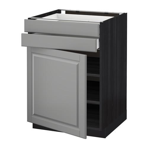 МЕТОД / МАКСИМЕРА Напольный шкаф с дверцей/2 ящиками - 60x60 см, Будбин серый, под дерево черный