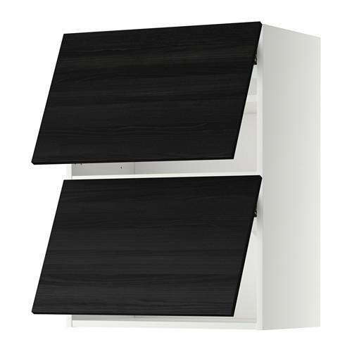 МЕТОД Навесной шкаф/2 дверцы, горизонтал - 60x80 см, Тингсрид под дерево черный, белый
