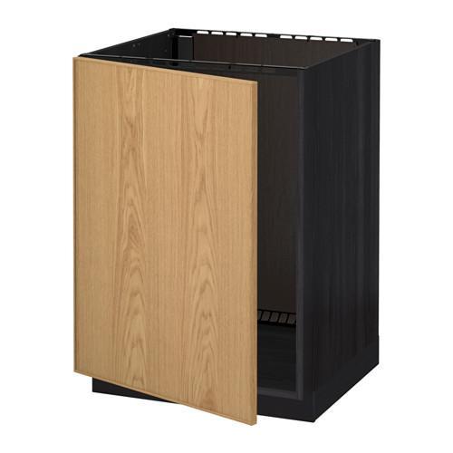 МЕТОД Напольный шкаф для раковины - Экестад дуб, под дерево черный