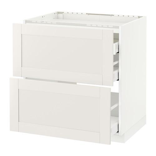 МЕТОД / МАКСИМЕРА Напольн шкаф/2 фронт пнл/3 ящика - 80x60 см, Сэведаль белый, белый