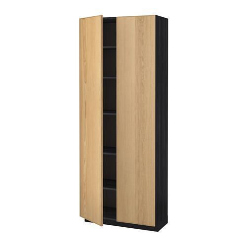 МЕТОД Высок шкаф с полками - 80x37x200 см, Экестад дуб, под дерево черный