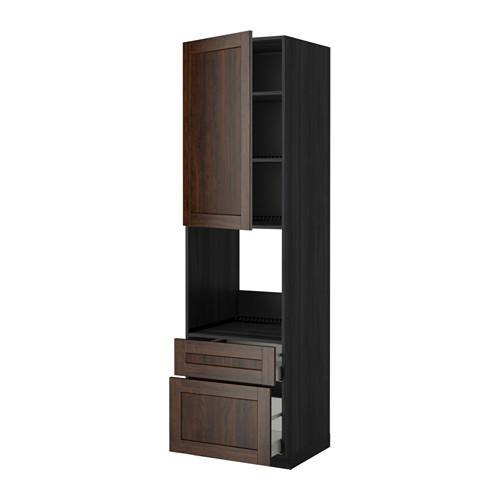МЕТОД / МАКСИМЕРА Высок шкаф д духов+дверь/2 ящика - 60x60x220 см, Эдсерум под дерево коричневый, под дерево черный