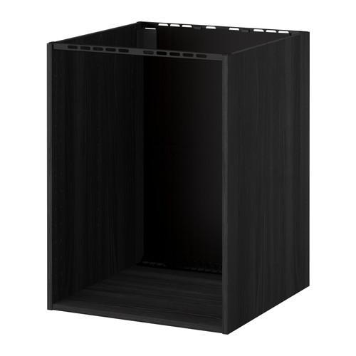 МЕТОД Напольный шкаф д/встр духовки/мойки - под дерево черный, 60x60x80 см