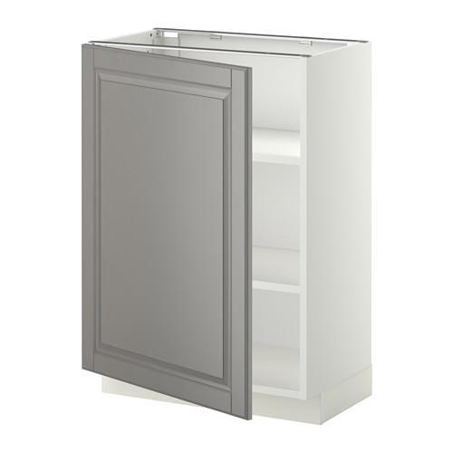 МЕТОД Напольный шкаф с полками - 60x37 см, Будбин серый, белый