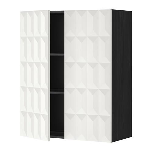 МЕТОД Навесной шкаф с полками/2дверцы - 80x100 см, Гэррестад белый, под дерево черный