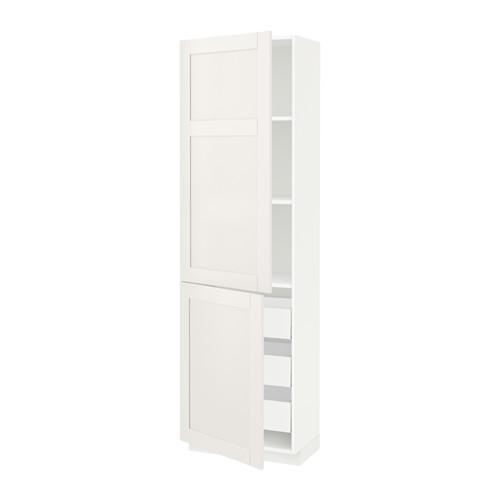 МЕТОД / МАКСИМЕРА Высокий шкаф+полки/3 ящика/2 дверцы - 60x37x200 см, Сэведаль белый, белый