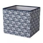 ДРЁНА Коробка - синий/белый с цветочным орнаментом