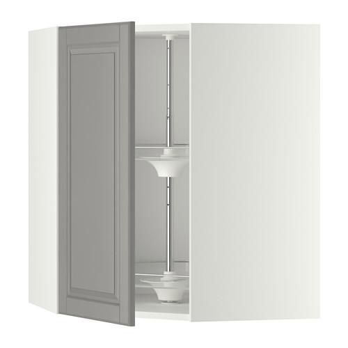 МЕТОД Угл нвсн шкф с вращающ секц - 68x80 см, Будбин серый, белый