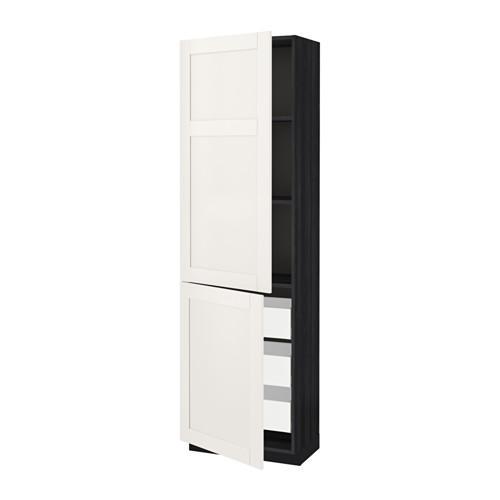 МЕТОД / МАКСИМЕРА Высокий шкаф+полки/3 ящика/2 дверцы - 60x37x200 см, Сэведаль белый, под дерево черный