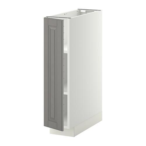 МЕТОД Напольный шкаф с полками - 20x60 см, Будбин серый, белый
