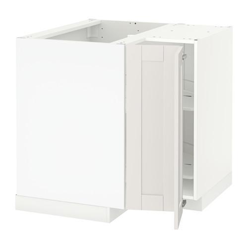 МЕТОД Угл напольн шкаф с вращающ секц - Сэведаль белый, белый