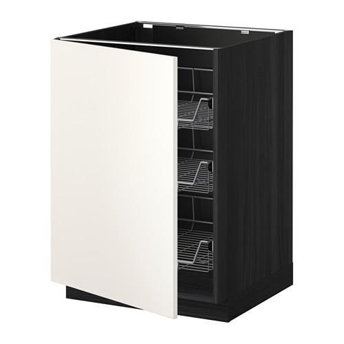 МЕТОД Напольный шкаф с проволочн ящиками - 60x60 см, Веддинге белый, под дерево черный