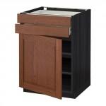 МЕТОД / ФОРВАРА Напольный шкаф с дверцей/2 ящиками - 60x60 см, Филипстад коричневый, под дерево черный
