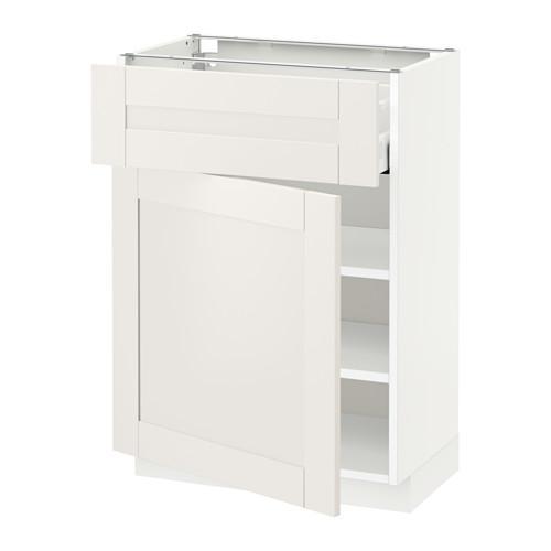 МЕТОД / МАКСИМЕРА Напольный шкаф с ящиком/дверью - 60x37 см, Сэведаль белый, белый