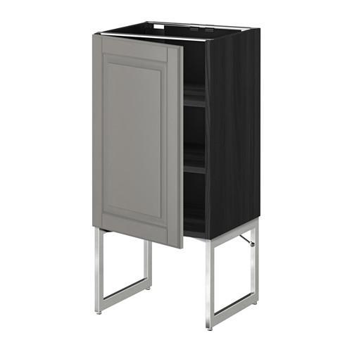 МЕТОД Напольный шкаф с полками - 40x37x60 см, Будбин серый, под дерево черный
