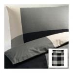 БРУНКРИСЛА Пододеяльник и 2 наволочки - черный/серый, 200x200/50x70 см