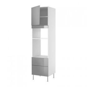 ФАКТУМ Высок шкаф для СВЧ/духов+ящ/дверь - Рубрик нержавеющ сталь, 60x233 см