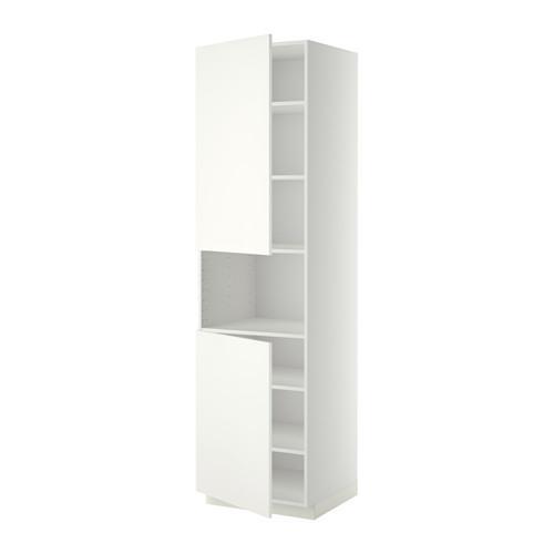 МЕТОД Выс шкаф д/СВЧ/2 дверцы/полки - 60x60x220 см, Хэггеби белый, белый